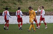 Connor McLeod is congratulated after scoring - Dundee v Dumbarton - under 19s