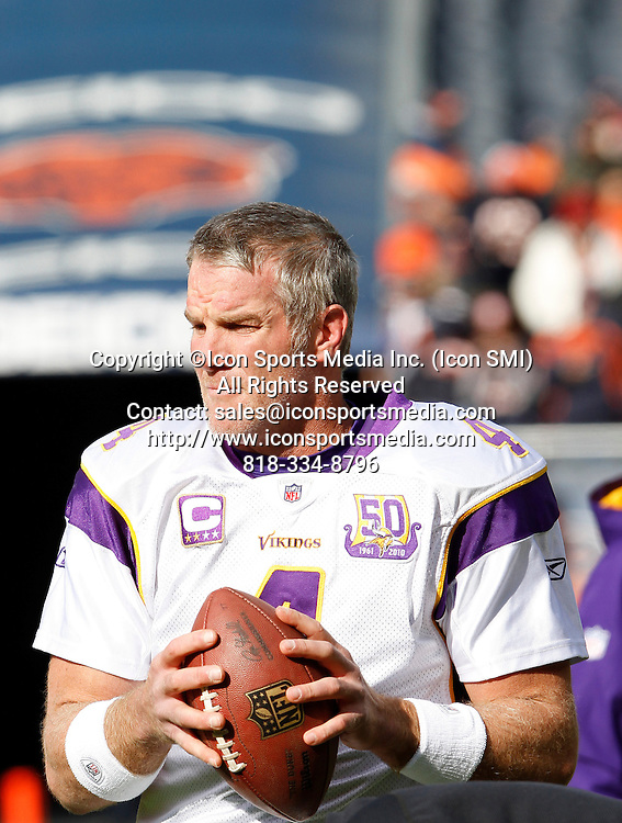 14 November 2010: Minnesota Vikings QB, Brett Favre during pregame warm ups prior to their 27-13 loss to the Chicago Bears at Soldier Field in Chicago, Illinois.