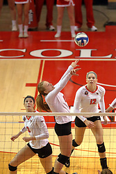 06 November 2015:  Jacqueline Twing(9) sets forward as Jaelyn Keene(2) moves to her back on a fake during an NCAA women's volleyball match between the Bradley Braves and the Illinois State Redbirds at Redbird Arena in Normal IL (Photo by Alan Look)