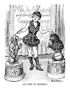 ALL DONE BY KINDNESS! Mlle. de Geneve and her highly trained canine pupils. (The League of Nations placates her German Sausage Dog with a Saar bone and her French poodle with a sack of £12million)