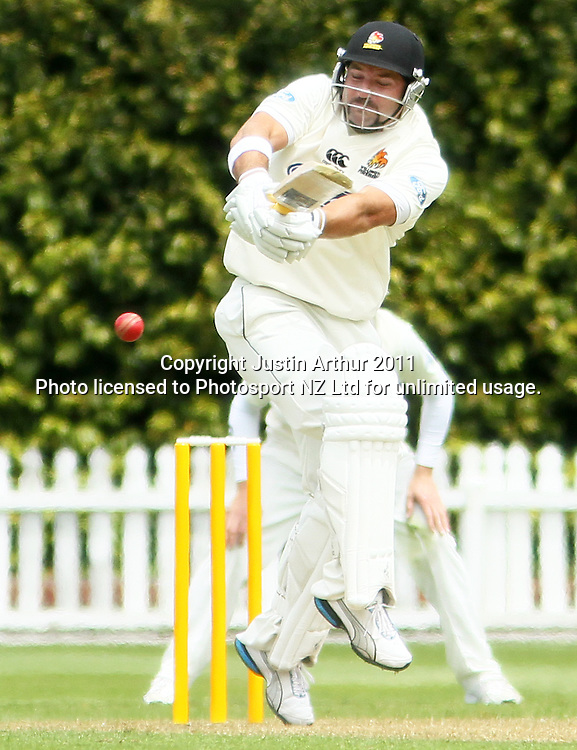 Wellington's Luke Woodcock in action. Plunket Shield cricket - Wellington Firebirds v Otago Volts, day one at Hawkins Basin Reserve, Wellington, New Zealand on Tuesday 29 November 2011. Photo: Justin Arthur / photosport.co.nz