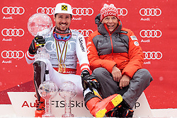 18.03.2018, Aare, SWE, FIS Weltcup Ski Alpin, Finale, Aare, Gesamt Weltcup, Herren, Siegerehrung, im Bild v.l. Marcel Hirscher (AUT, Gesamt Weltcup 1. Platz und Slalom Weltcup 1. Platz) mit seinen Kugeln und seinem Team // f.l. Overall World Cup winner Slalom World Cup winner and Giant Slalom World Cup winner Marcel Hirscher of Austria with his crystal globes and his Team during the allover winner Ceremony for the men's Worlcup of FIS Ski Alpine World Cup finals in Aare, Sweden on 2018/03/18. EXPA Pictures © 2018, PhotoCredit: EXPA/ Johann Groder