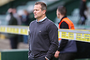 Forest Green Rovers manager, Mark Cooper watches on during the warm up during the EFL Sky Bet League 2 match between Yeovil Town and Forest Green Rovers at Huish Park, Yeovil, England on 24 April 2018. Picture by Shane Healey.