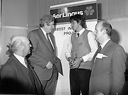 07/01/1983.01/07/1983.7th January 1983.The Aer Lingus Young Scientist Exhibition at the RDS, Dublin...Picture shows L-R Michael Dargan, Chairman of Aer Lingus, Garrett Fitzgerald, Taoiseach, Timothy Hickey from Colaiste De La Salle, Macroom, Co. Cork, winner of the Individual project- 'Ecological Study to Save the Garragh - A Rare Freshwater Habitat' and David Kennedy, Chief Executive of Aer Lingus. .
