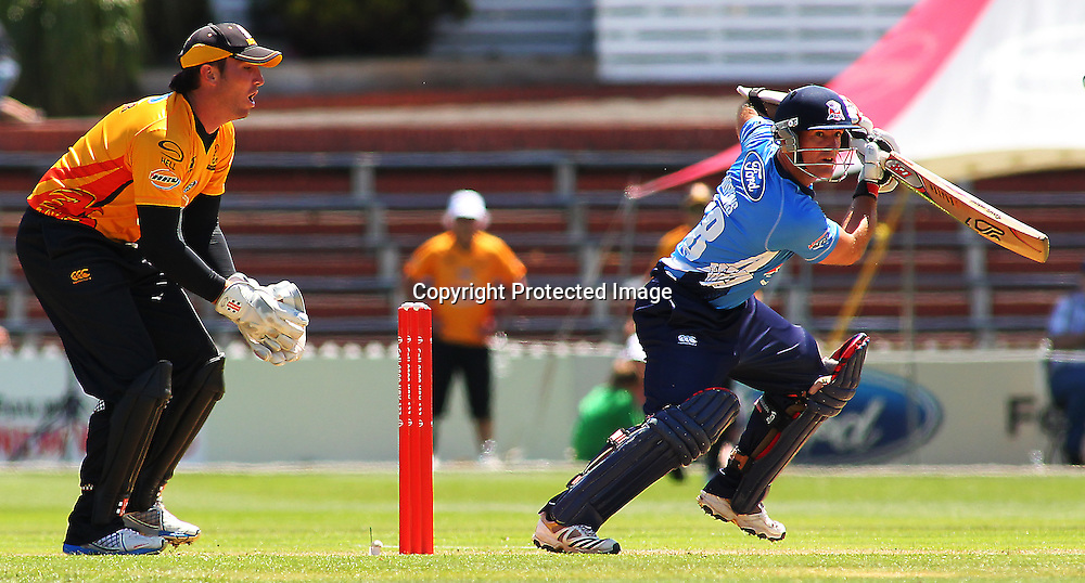 Gareth Hopkins batting during their Twenty20 Cricket match - HRV Cup, Wellington Firebirds v Auckland Aces, 28 December 2011, Hawkins Basin Reserve, Wellington. . PHOTO: Grant Down / photosport.co.nz
