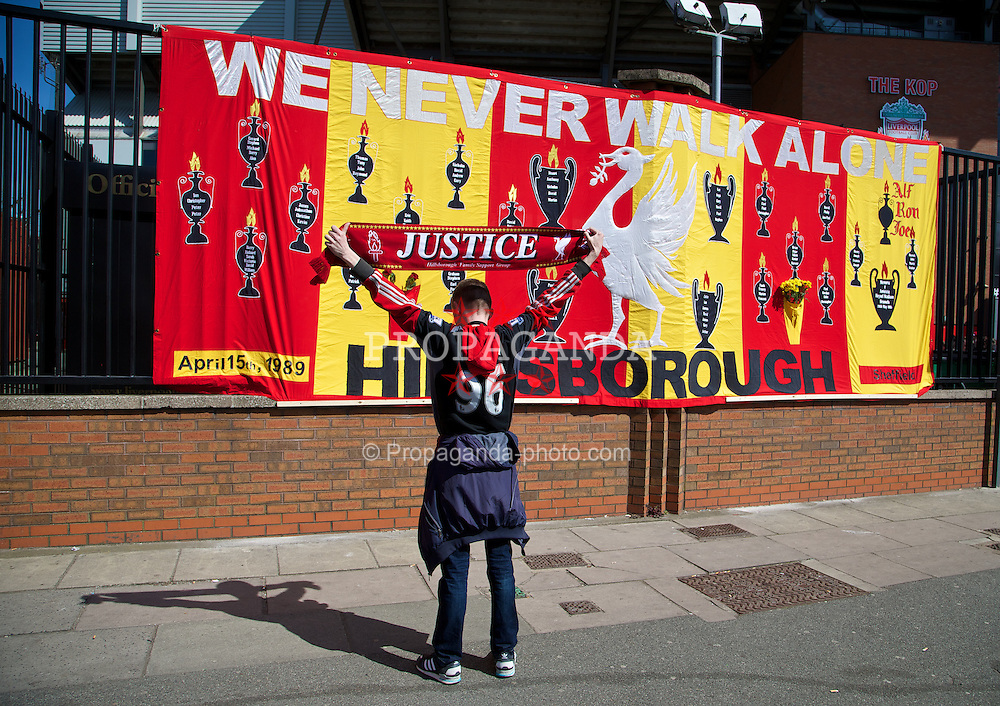 LIVERPOOL, ENGLAND - Tuesday, April 15, 2014: A large banner with the names of the 96 victims of the Hillsborough Disaster embodied before the 25th Anniversary Hillsborough Service at Anfield. (Pic by David Rawcliffe/Propaganda)