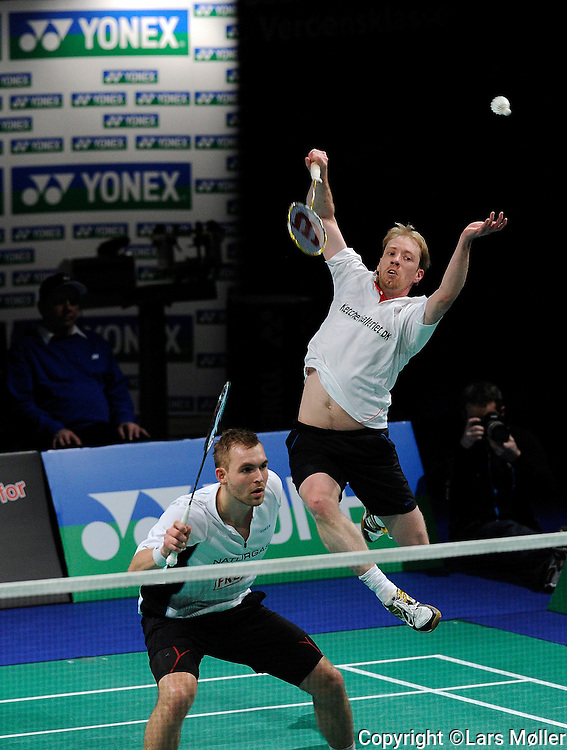DK Caption: .20120205, København, Danmark: Danmarksmesterskab i Badminton. Herre double finale Mads Conrad Pedersen og Jonas Rasmussen (hvid)(vinder).Foto: Lars Møller.UK Caption: .20120205, Copenhagen, Denmark: Danish Championships in Badminton. .Mens double final Mads Conrad Pedersen and Jonas Rasmussen (white)(winner).Photo: Lars Moeller
