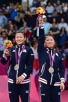 Fujii and Kakiiwa, Japan, Win Silver Womens Doubles, Olympic Badminton London Wembley 2012