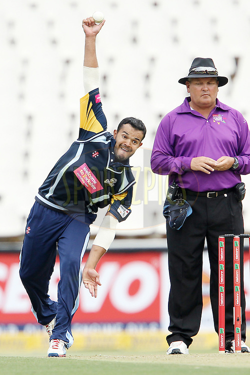 Azeem Rafiq during 1st Qualifying match of the Karbonn Smart CLT20 South Africa between Uva Next and Yorkshire held at The Wanderers Stadium in Johannesburg, South Africa on the 9th October 2012..Photo by Ron Gaunt/SPORTZPICS/CLT20
