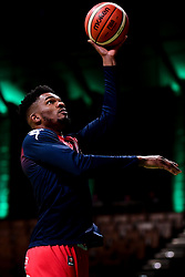 Marcus Delpeche of Bristol Flyers warms up prior to tip off  - Photo mandatory by-line: Ryan Hiscott/JMP - 28/12/2019 - BASKETBALL - Plymouth Pavilions - Plymouth, England - Plymouth Raiders v Bristol Flyers - British Basketball League Championship