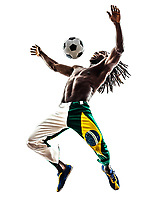 one Brazilian black man soccer player juggling football on white background