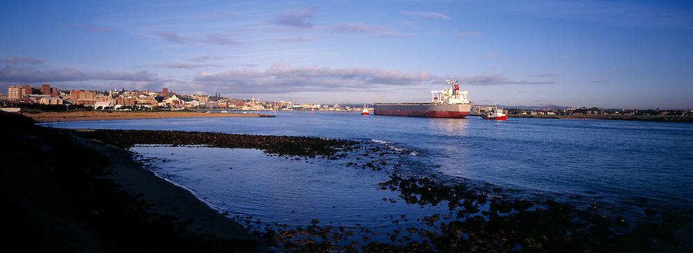 Ship entering Newcastle Harbour, Australia
