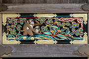 """The mother looks to the future while the new child looks at her with trust."" Hidari Jingoro may have carved these panels to incorporate Confucius's Code of Conduct, using the monkey as a way to depict man's life cycle. Art work on storehouse in Toshogu shrine in Nikko, Japan. The monkeys are Japanese macaques, a common species in Japan. Toshogu Shrine is the final resting place of Tokugawa Ieyasu, the founder of the Tokugawa Shogunate that ruled Japan for over 250 years until 1868. Ieyasu is enshrined at Toshogu as the deity Tosho Daigongen, ""Great Deity of the East Shining Light"". Initially a relatively simple mausoleum, Toshogu was enlarged into the spectacular complex seen today by Ieyasu's grandson Iemitsu during the first half of the 1600s. The lavishly decorated shrine complex consists of more than a dozen buildings set in a beautiful forest. Toshogu contains both Shinto and Buddhist elements, as was common until the Meiji Period when Shinto was deliberately separated from Buddhism. Toshogu is part of Shrines and Temples of Nikko UNESCO World Heritage site."