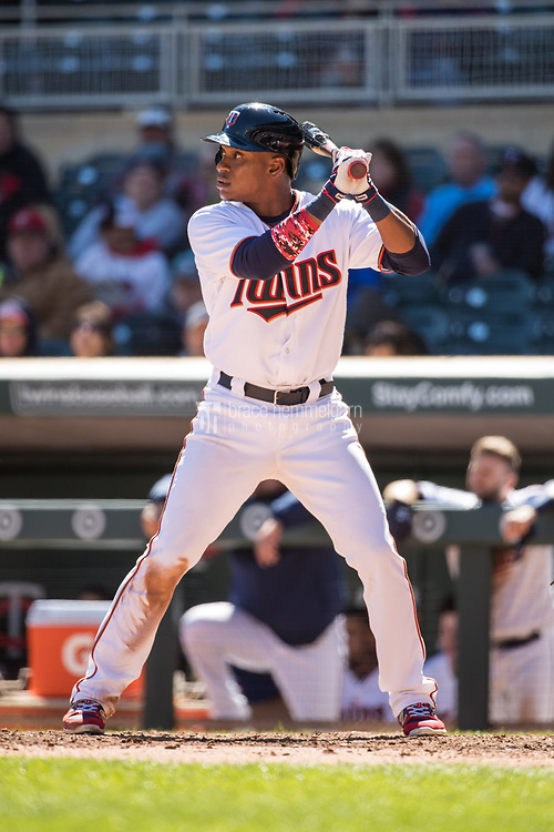 MINNEAPOLIS, MN- APRIL 6: Jorge Polanco #11 of the Minnesota Twins bats against the Kansas City Royals on April 6, 2017 at Target Field in Minneapolis, Minnesota. The Twins defeated the Royals 5-3. (Photo by Brace Hemmelgarn) *** Local Caption *** Jorge Polanco