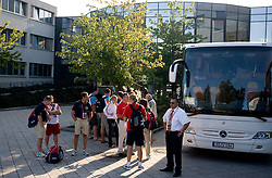 Athletes at shuttle bus at departure back to Slovenia during day five of the 12th IAAF World Athletics Championships at the Hotel Estrel on August 18, 2009 in Berlin, Germany. (Photo by Vid Ponikvar / Sportida)