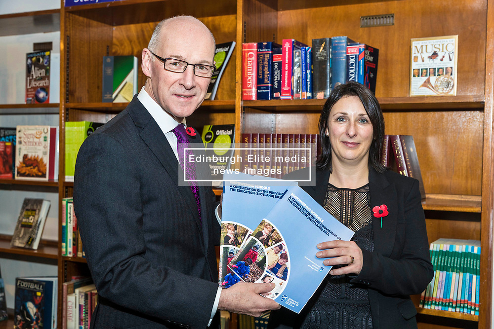 Deputy First Minister John Swinney launches the Education (Scotland) Bill 2018 consultation. The bill aims to radically reform the education system in Scotland, giving more power to headteachers, more support to teachers and strengthening the role of parents and young people. Mr Swinney launched the consultation at the Royal High School in Edinburgh where he joined a discussion with the school's Pupil Parliament.<br /> <br /> Deputy First Minister, John Swinney and Rector of The Royal High School, Pauline Walker