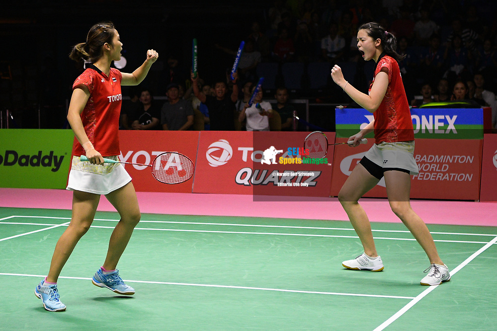 BANGKOK, THAILAND - MAY 26: Jongkolphan Kititharakul and Puttita Supajirakul of Thailand reaction on Court 1 during their Uber Cup Finals match against Yuki Fukushima and Sayaka Hirota of Japan at the BWF Total Thomas and Uber Cup Finals 2018, Impact Arena , Bangkok, Thailand on May 26, 2018.<br /> .<br /> .<br /> .<br /> Photo by: Naratip Golf Srisupab/SEALs Sports Images<br /> <br /> .<br /> All photo must include a credit line adjacent to the content: Naratip Golf Srisupab/SEALs Sports Images