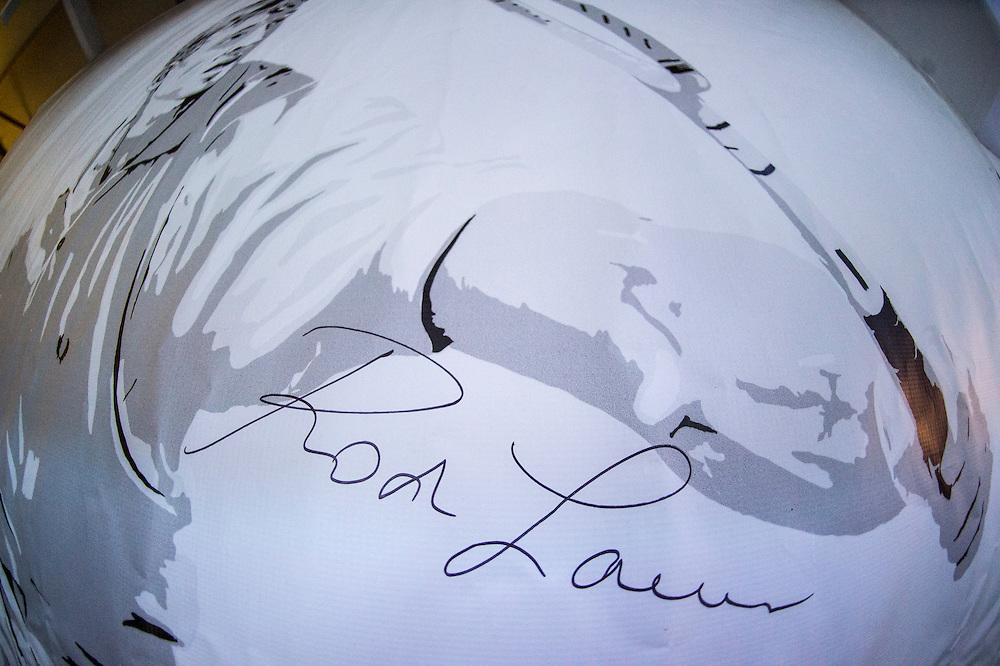 Rod Laver's autograph ahead of the 2017 Australian Open at Melbourne Park on January 14, 2017 in Melbourne, Australia.<br /> (Ben Solomon/Tennis Australia)