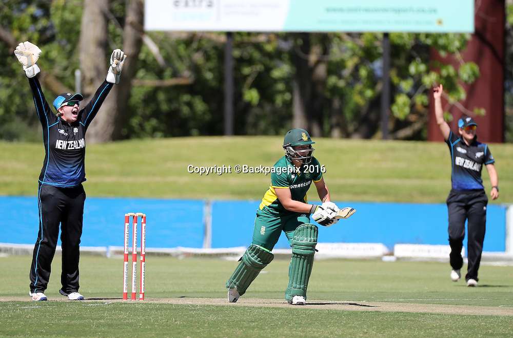 Rachel Priest of New Zealand appeals a successful LBW against Lizelle Lee of South Africa during the 2016 International ODI Womens cricket match between South Africa and New Zealand at Boland Park, Paarl on 16 October 2016 ©Chris Ricco/BackpagePix