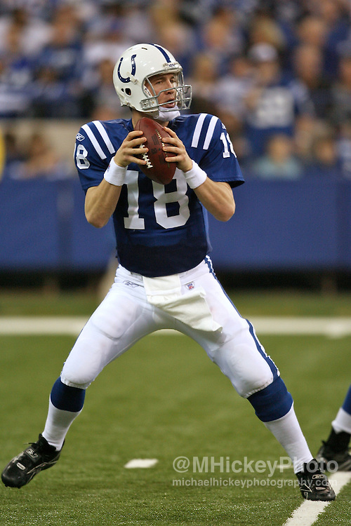 WireImage #12050487--Indianapolis Colts quarterback Peyton Manning seen during action against the Miami Dolphins at the RCA Dome in Indianapolis, Indiana on December 31, 2006.