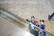 Hollywood, California - April 10, 2015: President Kevin Baugh of Molossia, left, waving, Prince Arthur of The House of Homestead of Andorra, middle, and Molossian Comodore Jonathan Miller tour the Hollywood &amp; Highland Center Friday.<br />