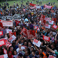 London,England,UK, 15th Aug 2016 : The Times: Crowds at the rally on Monday where Jeremy Corbyn appeared on the same stage as a Socialist Party member, prompting claims that he is galvanising the hard left at Highbury Fields, London,UK. Photo by See Li<br />