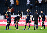 SOLNA, SWEDEN - JULY 27: Per Karlsson, Kristoffer Olsson and Nils-Eric Johansson of AIK dejected after the UEFA Europa League Qualifying match between AIK and SC Braga at Friends arena on July 27, 2017 in Solna, Sweden. Photo by Nils Petter Nilsson/Ombrello