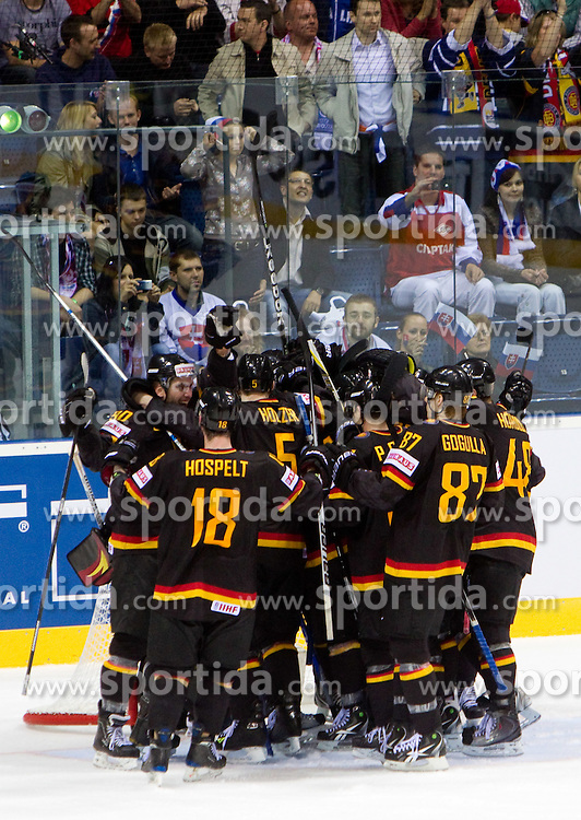 Players of Germany celebrate after the ice-hockey match between Germany and Russia of Group A of IIHF 2011 World Championship Slovakia, on April 29, 2011 in Orange Arena, Bratislava, Slovakia. Germany defeated Russia 2-0. (Photo By Vid Ponikvar / Sportida.com)