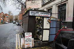 London, UK. 20 December, 2019. Syd's Coffee Stall, which has been run by three generations of the same family on the corner of Shoreditch High Street and Calvert Avenue since 1919, shortly before its very last customer was served. The mahogany coffee stall will go on display in the new Museum of London in Smithfield in 2024.