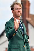 Andy Ogletree (USA) waves to the crowds during the Walker Cup Opening Ceremony, Friday at the Royal Liverpool Golf Club, Friday, Sept 6, 2019, in Hoylake, United Kingdom. (Steve Flynn/Image of Sport)