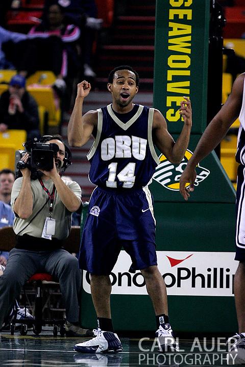 26 November 2005: ORU senior, Jonathan Bluitt in the Oral Roberts University 62-54 victory over Monmouth University in the Great Alaska Shootout in Anchorage, Alaska
