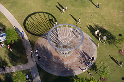 Stock photo of an aerial view of the Mist Tree sculpture fountain