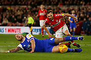 Ipswich Town defender Luke Chambers (4) is fouled by Middlesbrough midfielder Lewis Wing (26)  during the EFL Sky Bet Championship match between Middlesbrough and Ipswich Town at the Riverside Stadium, Middlesbrough, England on 29 December 2018.
