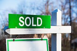 Property sold sign, close up (Credit Image: © Image Source/Alan Schein/Image Source/ZUMAPRESS.com)