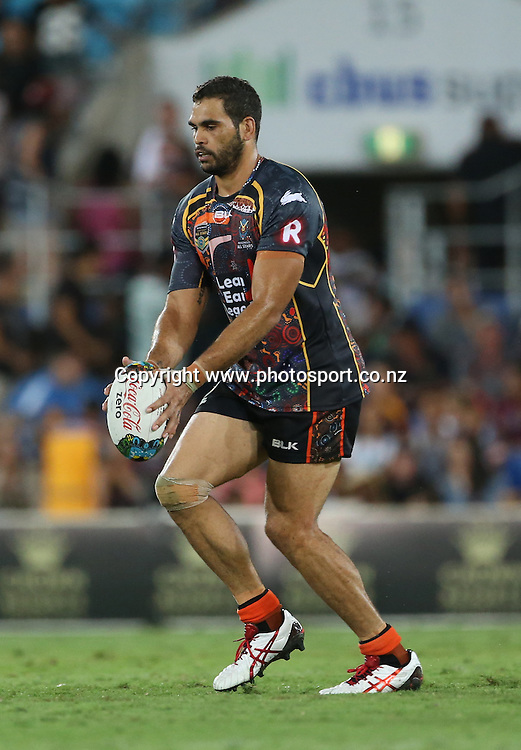 Rugby League - All Stars v Indigenous , Gold Coast 13 February 2015<br /> Indigenous All Stars'  Greg Inglis in action<br /> Photograph :  Jason O'Brien