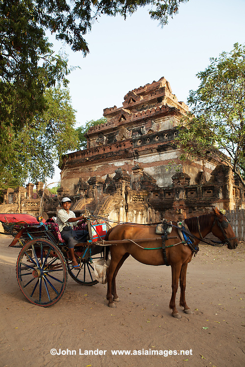 Horse carts are the traditional Bagan to see the many temples, though pickup trucks, ramshakle Toyotas are taking over.  Though the horse carts are not the fastest way of getting around, they are more fun way to see the temples, plus the canopy provides welcome shade in the blistering sun.  They are often well decorated - some ponies even have plastic flowes behind their ears.