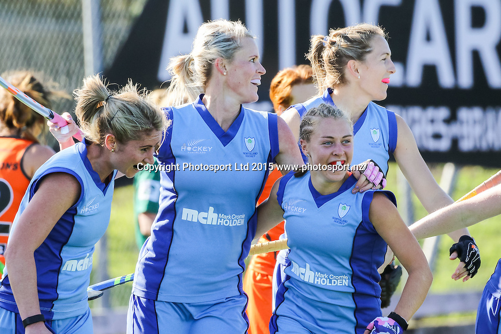 Anna Thorpe celebrates her goal with her Northland team-mates. NHL Womens Hockey. Northland v Midlands. Whangarei. New Zealand. 12 September 2015. Copyright Photo: Heath Johnson / www.photosport.nz