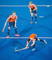 LUCKNOW (India) -  Bram van Groesen (NED) oefent met Joep de Mol (NED) en Jip Janssen (NED)   voor de oefenwedstrijd tegen Korea voor de Junior  World Cup hockey men . COPYRIGHT KOEN SUYK