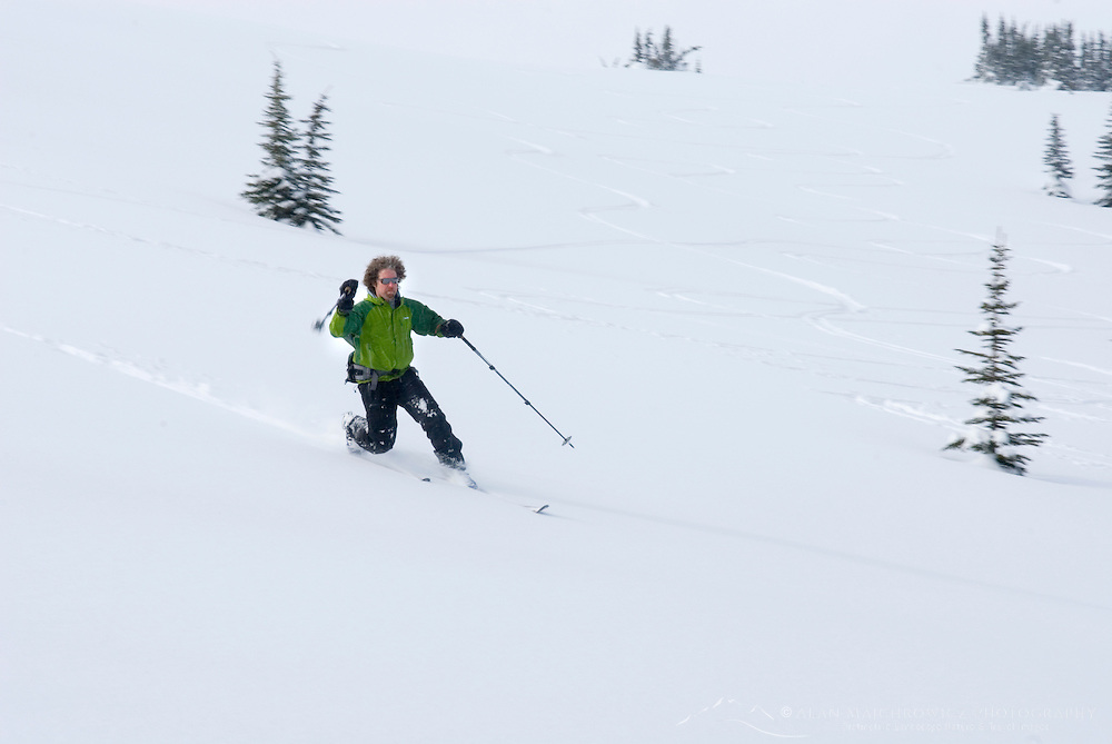 Backcountry telemark skier, Manning Provincial Park British Columbia Canada