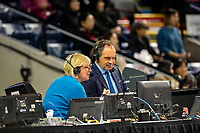 KELOWNA, BC - OCTOBER 25: TSN broadcasters Tracy Wilson and Rob Black watch skater performances in the broadcast booth during Skate Canada International at Prospera Place on October 25, 2019 in Kelowna, Canada. (Photo by Marissa Baecker/Shoot the Breeze)