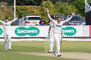 Muhammad Abbas appeals against Cameron Steel during the Specsavers County Champ Div 2 match between Durham County Cricket Club and Leicestershire County Cricket Club at the Emirates Durham ICG Ground, Chester-le-Street, United Kingdom on 18 August 2019.