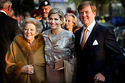 59604336 .Dutch King Willem-Alexander (R), Queen Maxima (C) and Princess Beatrix arrive to attend the annual concert marking the Liberation Day , Amsterdam, Netherlands, May 05, 2013. Photo by: i-Images.UK ONLY