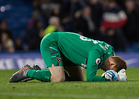 Football - 2019 / 2020 Premier League - Chelsea vs. West Ham United<br /> <br /> David Martin (West Ham United) collapses on the floor after making his Premier League debut at the age of 33 as his team beat Chelsea at Stamford Bridge <br /> <br /> COLORSPORT/DANIEL BEARHAM