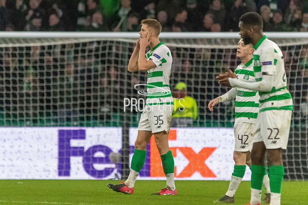 Kristoffer Ajer of Celtic FC tells his team mates to keep their heads during the Europa League match between Celtic and FC Copenhagen at Celtic Park, Glasgow, Scotland on 27 February 2020.