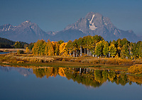 12,605 ft. Mount Moran and Oxbow Bend.  The smoky haze is caused by a near by wild fire.  Grand Teton National Park, Wyoming, USA.
