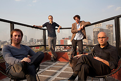 Left to right: Abel Perles,Wonne Icks, Victor Jaime and Carlos Bedoya of Productora sit on the terrace of their office in Mexico City.