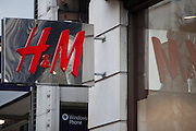 The H & M sign, outside their branch on Oxford Street, London.