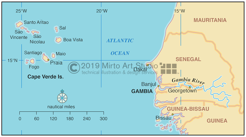 Vector map of the Cape Verde Islands