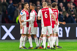 13-03-2019 NED: Ajax - PEC Zwolle, Amsterdam<br /> Ajax has booked an oppressive victory over PEC Zwolle without entertaining the public 2-1 / Dusan Tadic #10 of Ajaxscores 1-0, Noussair Mazraoui #12 of Ajax, Kasper Dolberg #25 of Ajax, Daley Blind #17 of Ajax, Donny van de Beek #6 of Ajax, Lasse Schone #20 of Ajax, Zakaria Labyad #19 of Ajax