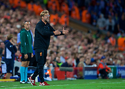 LIVERPOOL, ENGLAND - Wednesday, August 23, 2017: Liverpool's manager Jürgen Klopp reacts during the UEFA Champions League Play-Off 2nd Leg match between Liverpool and TSG 1899 Hoffenheim at Anfield. (Pic by David Rawcliffe/Propaganda)